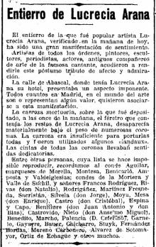 La Época, 10 de mayo de 1927, Entierro de Lucrecia Arana. Archivo Fundación Mariano Benlliure