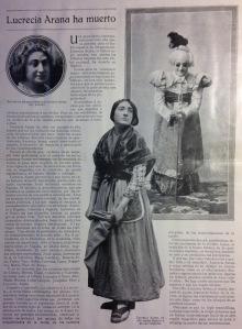 """Nuevo Mundo 14 de mayo de 1927, pág. 3, """"Lucrecia Arana ha muerto"""". Archivo Fundación Mariano Benlliure"""