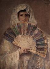 José Benlliure Gil, María Benlliure Ortiz con abanico y mantilla blanca. Casa-Museo Benlliure, Valencia