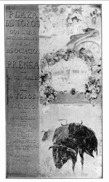 Cartel de la Corrida de la Prensa de 1905. Foto Archivo Fundación Mariano Benlliure