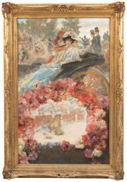 Mariano Benlliure, Calesa y suerte de varas, fragmento del Cartel de la Corrida de la Prensa de 1905, óleo sobre lienzo, 141 x 90 cm. ©mortonsubastas.com