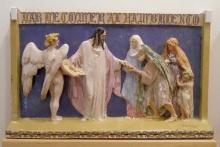 Boceto de la Entrada de Jesús en Jerusalen. 1947, escayola, parte patinDar de comer al hambriento. 1922, cerámica policromada vidriada. Foto Archivo Fundación Mariano Benlliure