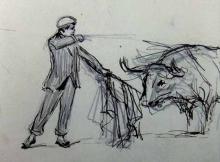 "Mariano Benlliure, ""Machaquito entrando a matar"", Lorca 6 de enero de 1908. Archivo Casa-Museo Benlliure, Valencia"