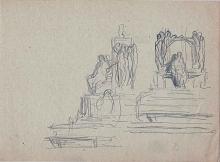 Apunte para monumento con personaje sedente. Archivo FMB
