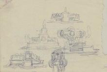Apuntes para monumento, planta y alzado. Archivo FMB