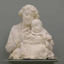 """Mariano Benlliure, """"Lucrecia Arana con su hijo José Luis Mariano"""", 1898, escayola. Museo de la Real Academia de Bellas Artes de San Fernando. Foto AFMB"""