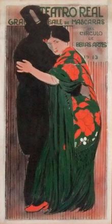 José Benlliure Ortiz (Peppino), Cartel para el baile de máscaras del Círculo de Bellas Artes, 1913. Casa-Museo Benlliure, Ayuntamiento de Valencia