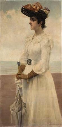 """Juan Antonio benlliure (Valencia, 1860-Madrid, 1930), """"Leopoldina Tuero O'Donnell"""", Roma, 1890. Óleo / lienzo, 146 x 73 cm. Foto Subastas Ansorena"""
