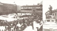 Inauguración del monumento a Eugenio Montero Ríos el 30 de julio de 1916 en la plaza del Hospital de Santiago de Compostela. Archivo Fundación Mariano Benlliure