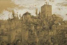 Rendición de Granada, detalle del fondo con la Alhambra © Archivo Fundación Mariano Benlliure, Foto S. Mijangos