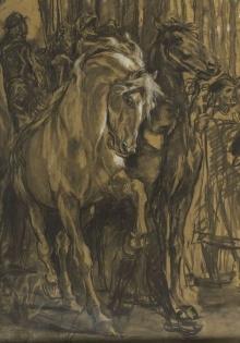 Rendición de Granada, detalle de la pareja de caballos en primer plano © Archivo Fundación Mariano Benlliure, Foto S. Mijangos