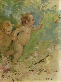 Niños persiguiendo mariposa